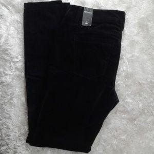 NWT  WHBM black velvet look skinny pants size 4